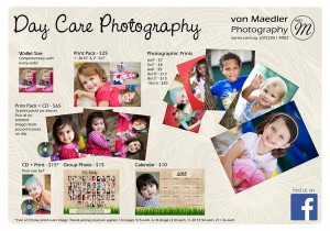 Day Care Photography Price List
